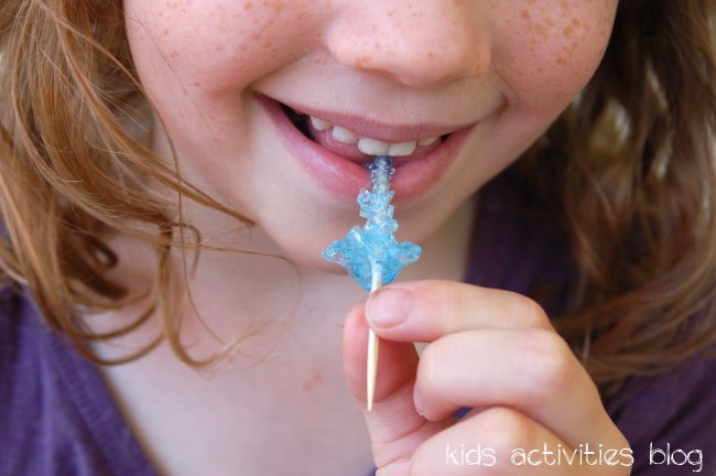 Yummy rock candy - Kids love to make rock candy mini skewers!