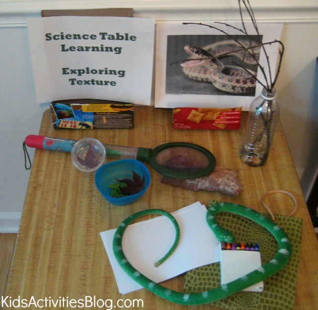 Science table for kids - hands on learning fun