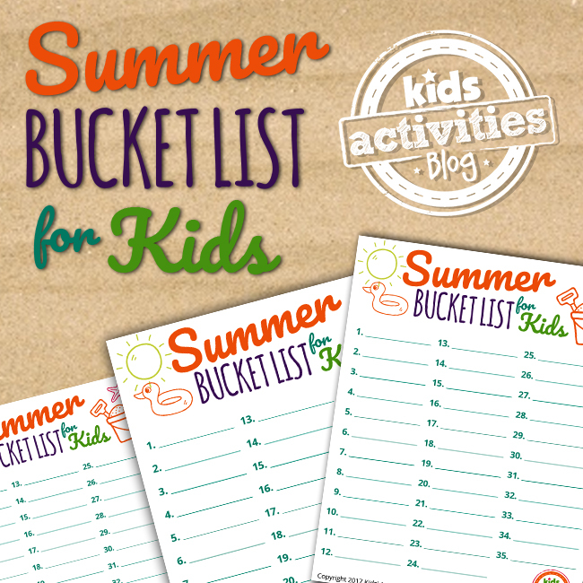 Free Summer Bucket List Printable for Kids