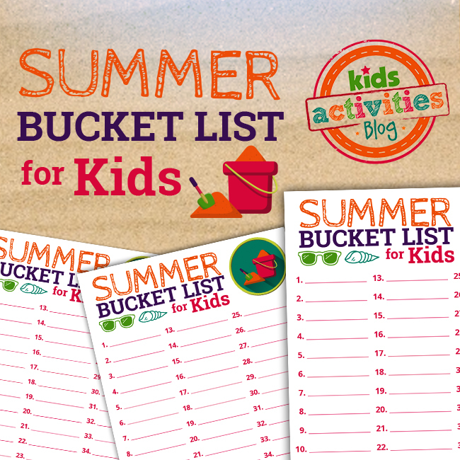 Summer Bucket List for Kids at The Printables Library at KidsActivitiesBlog