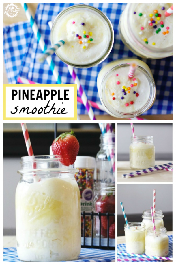 Kids Drink: Yummy Pineapple Smoothie - pictured four different variations of pineapple smoothie for kids recipe