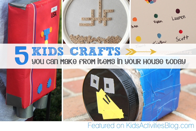 5 Kids Crafts {to make from items laying around your house}