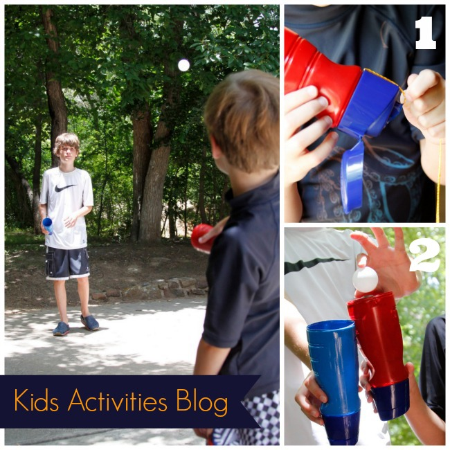 DIY ball and cup game to play together made from recycled International Delight bottles - fun for kids!