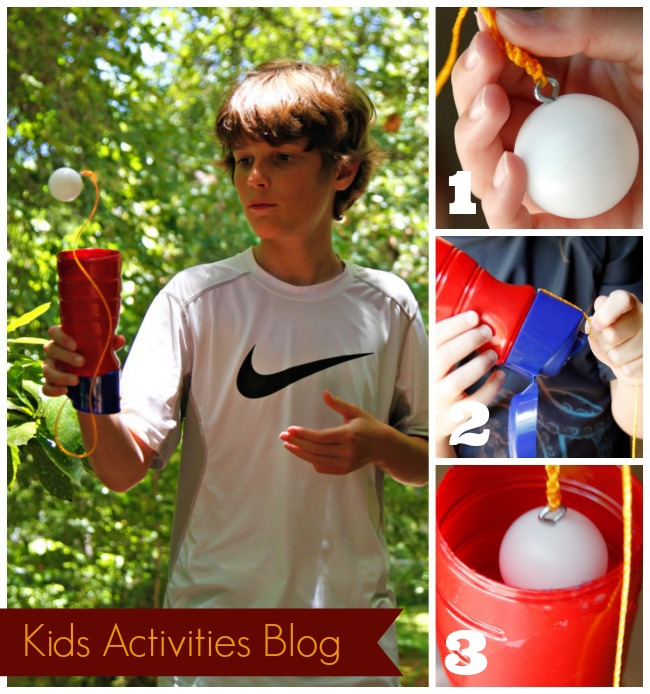 DIY Ball and Cup Game to make own ball-on-a-string game for kids to play