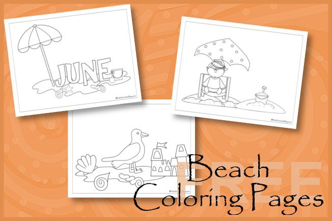 Beach fun coloring pages for kids (June)