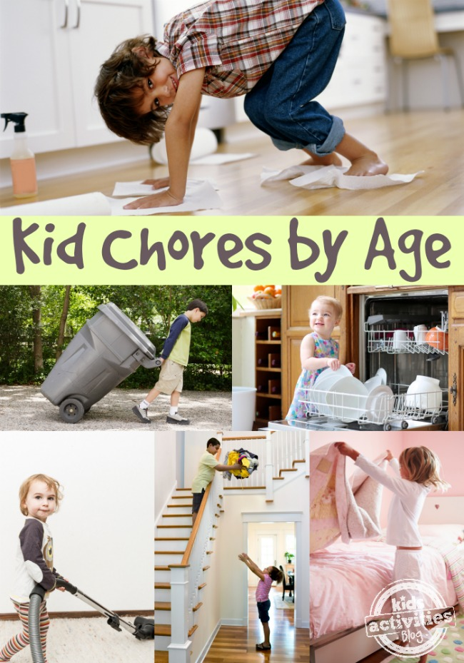 Kid Chores by Age- a boy sweeping with his hands and feet, a child taking down the trash, a toddler helping put away dishes from the dishwasher, a kid vacuuming, kids cleaning up, and a child making their bed.