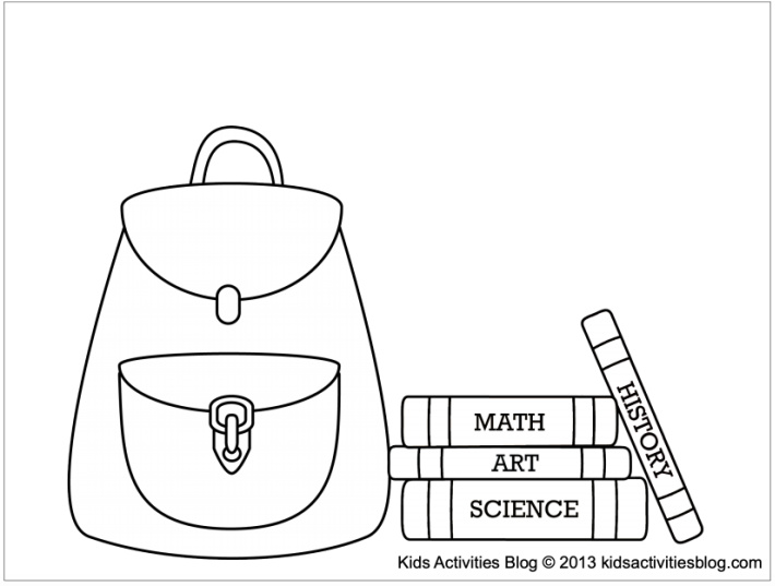 School coloring pages - backpack with books - Kids Activities Blog