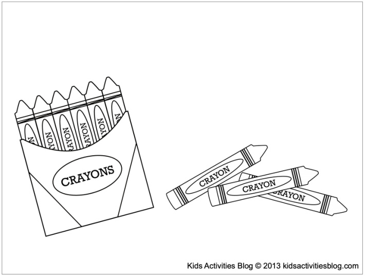 School coloring pages for kids - crayons and crayon box - Kids Activities Blog