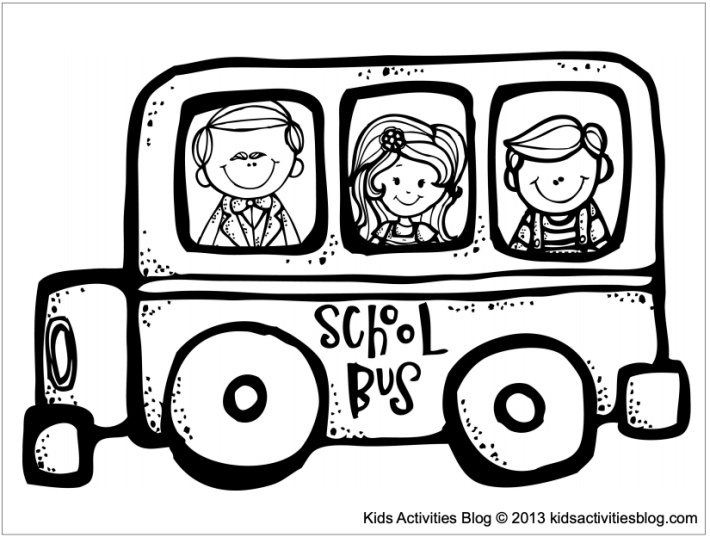School coloring pages for kids - school bus filled with kids - Kids Activities Blog