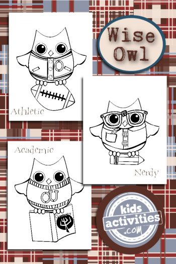 Wise Owl Coloring Pages Set from Kids Activities Blog