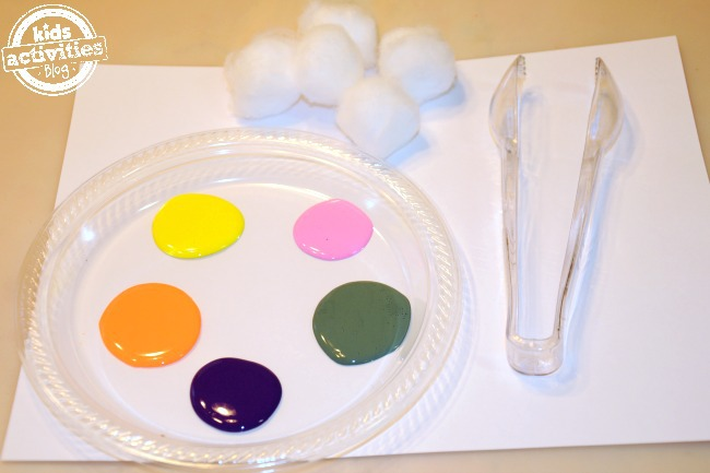 Preschool paint supplies for fine motor skills activity