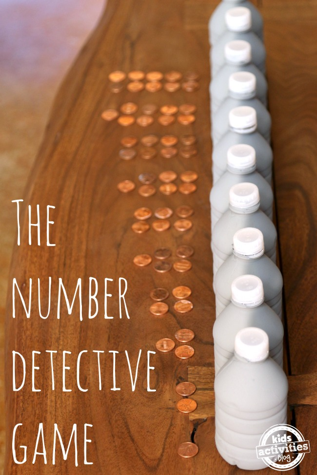 Number Detective Game featured on Kids Activities Blog - tons of fun trying to figure out how many marbles are in the jar!