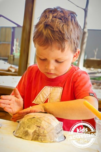 Paper Mache for Preschoolers - Make a bowl for Halloween