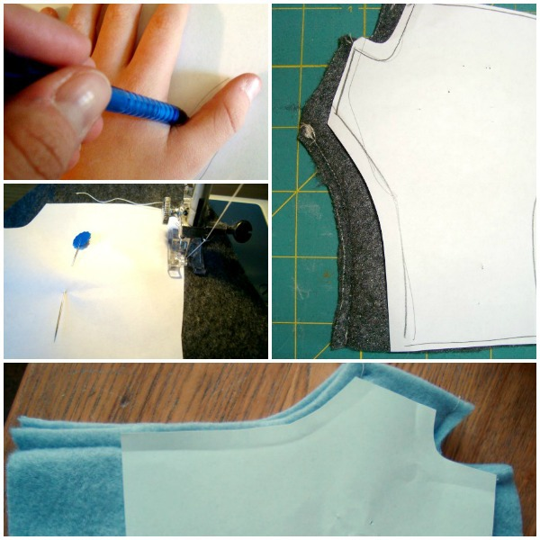 fingerless glove pattern trace, cut, sew