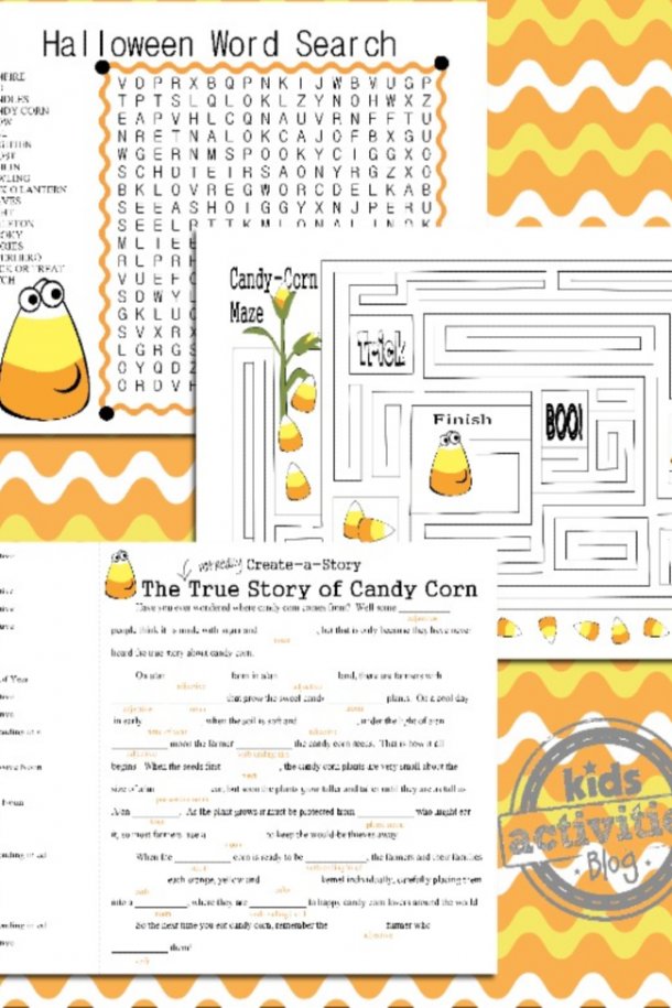 Candy corn themed Halloween word searches, Halloween mad libs, and Halloween Maze