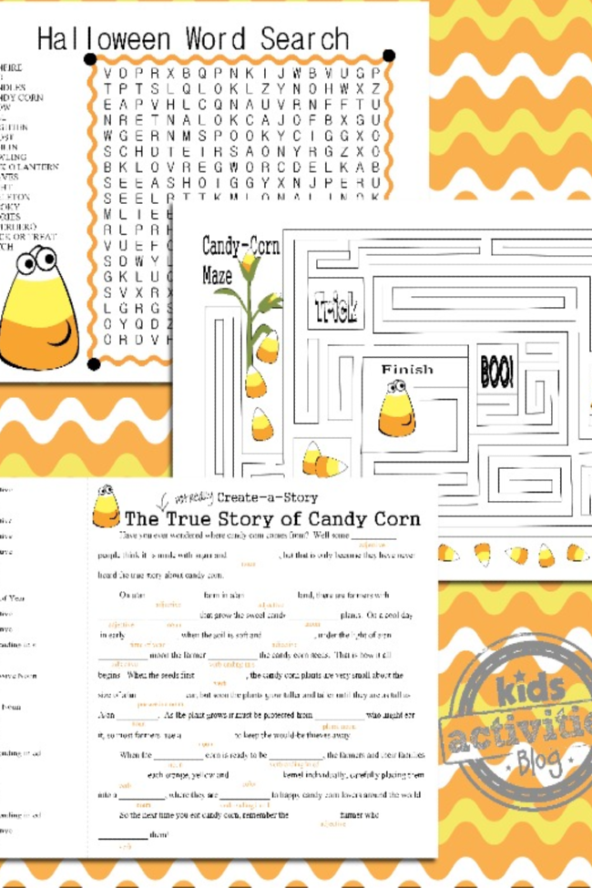 Printable Candy Corn Halloween Games: Maze, Word Search & Mad Libs