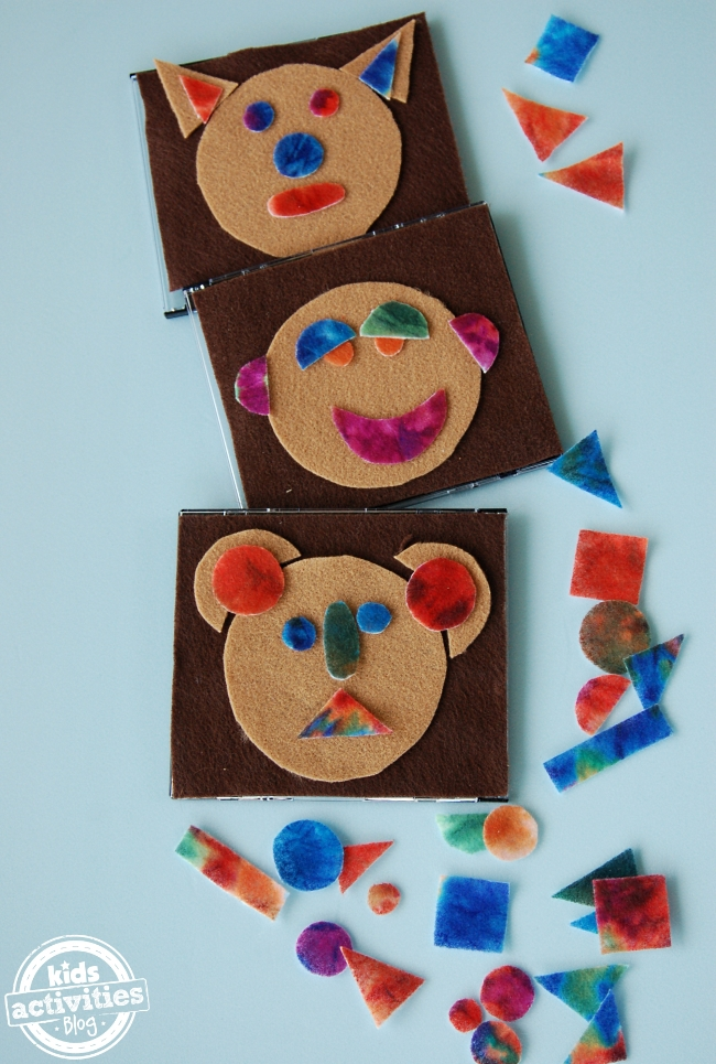 funny faces with felt shapes