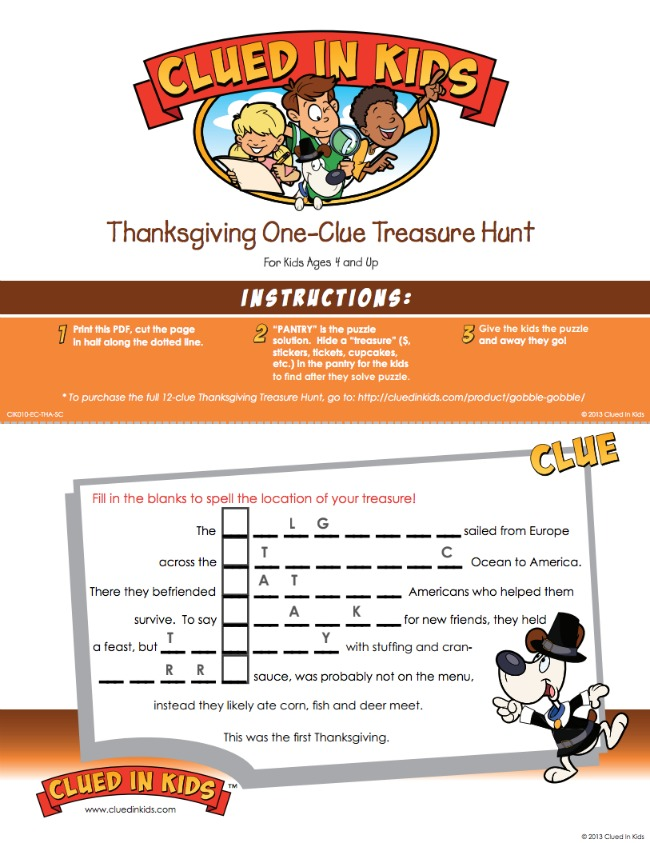 Clued In Kids Free Thanksgiving Printable for Kids