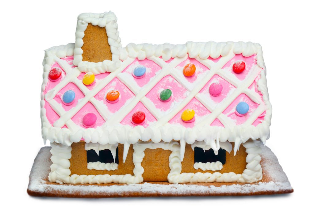 Gingerbread House with frosted roof