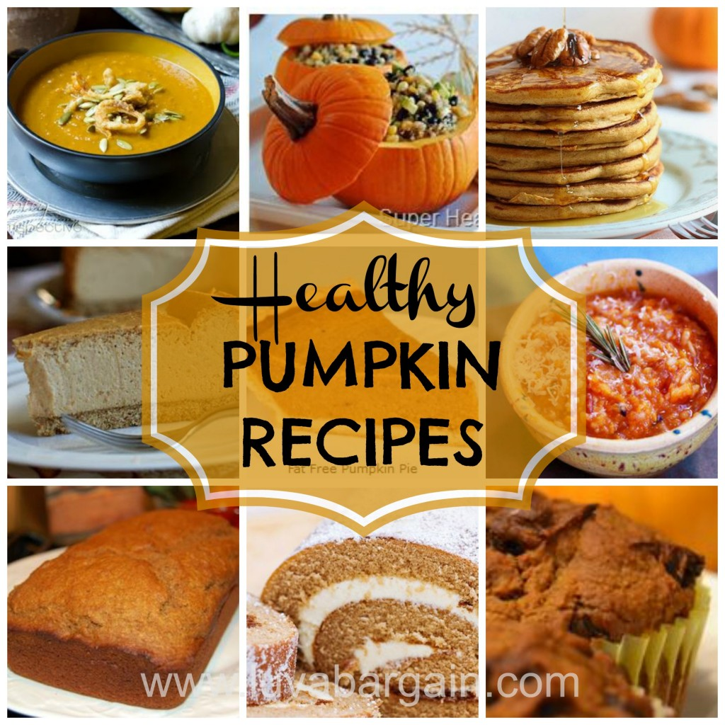 12 Healthy Pumpkin Recipes- with a bowl of pumpkin soup, stuffed pumpkins, pumpkin pancakes, pumpkin cheesecake, pumpkin pie, pumpkin salsa, pumpkin bread, pumpkin swirl bread, and pumpkin muffins.