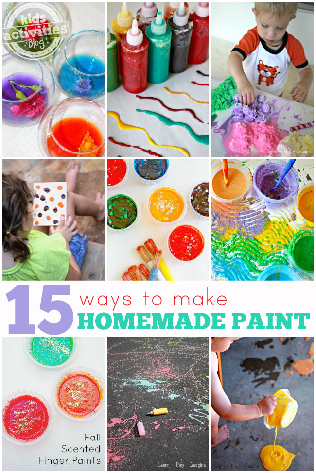 15 ways to make homemade paint for kids with water paints, squeeze paints, finger paints, pour paints with sparkles and are red, orange, blue, green, yellow.