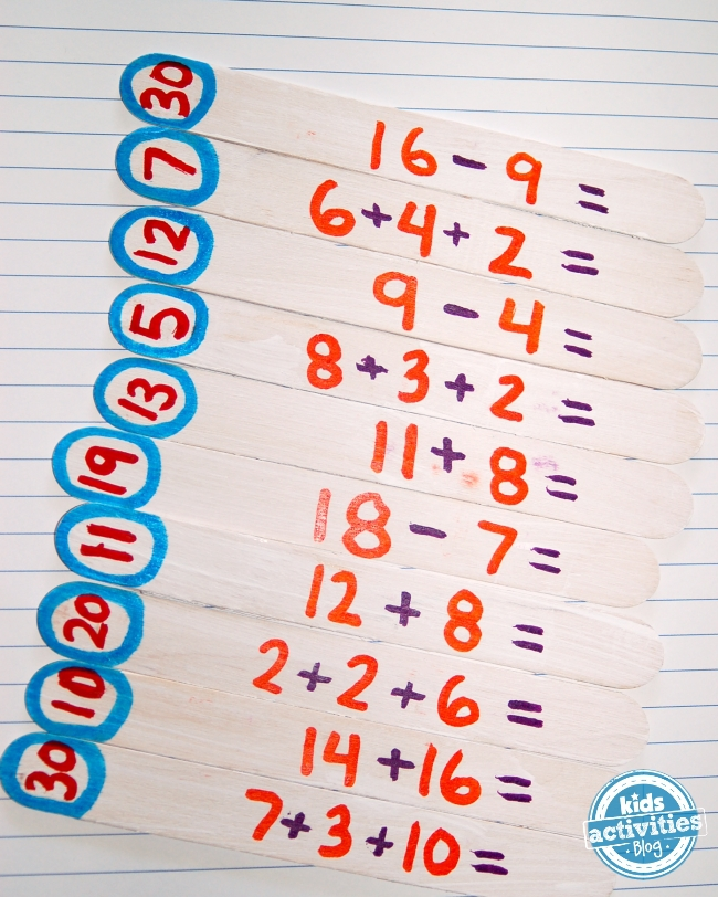 math puzzles - made from math sticks, great for elementary aged kiddos