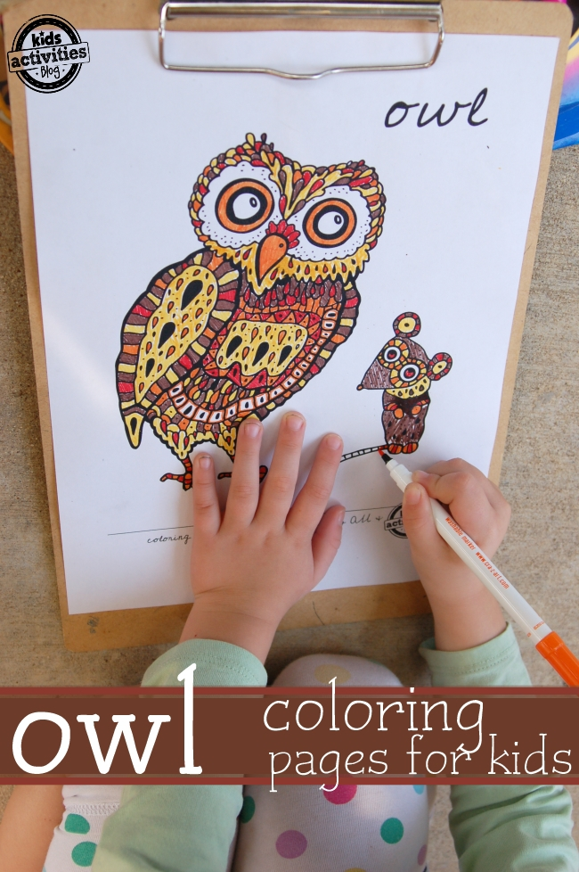 owl coloring pages for kids - multiple ages.  A page for older kids and a more simple version for younger kiddos