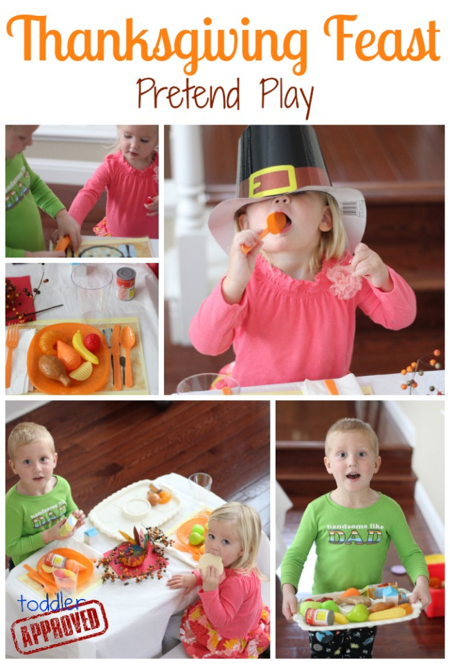 Thanksgiving feast pretend play collage of little girl and little boy playing with plastic food.