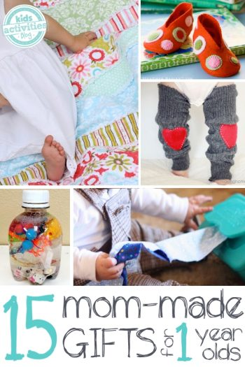 15 homemade gifts you can make for one year old babies. Great ideas for older kids to make for their younger sibling too