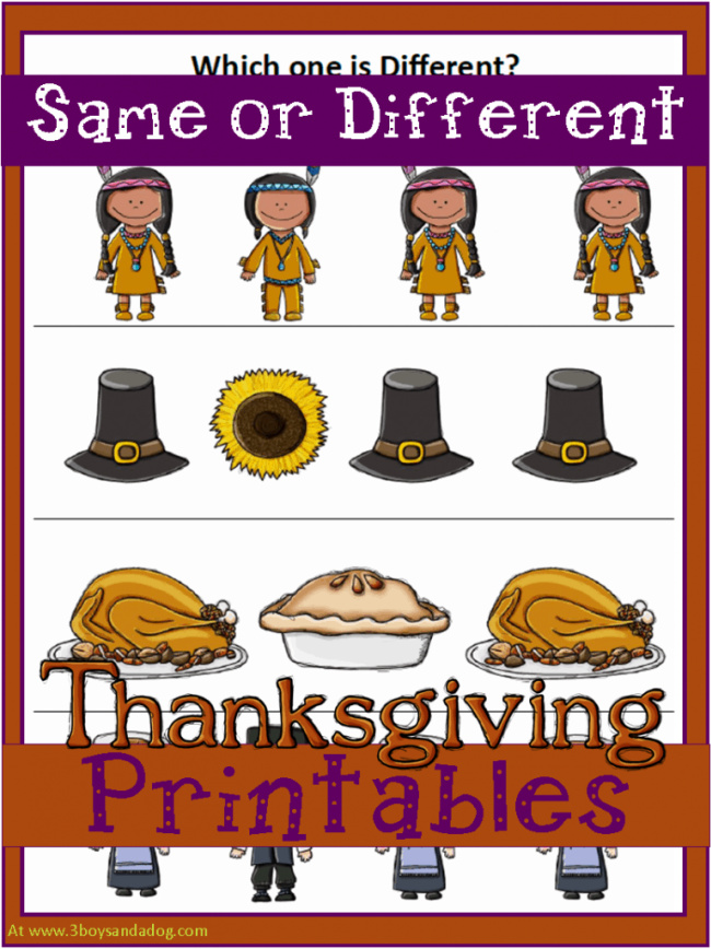 Same or different thanksgiving printable.