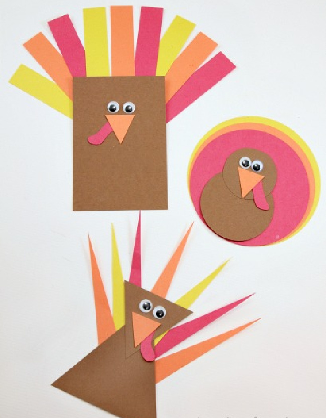 Paper shapes turkey craft, a brown rectangle turkey with feathers, a brown circle turkey with red and yellow circle feathers, and a triangle turkey with pointy feathers on a white background.