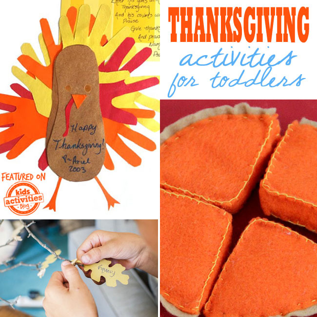 Thanksgiving activities for toddlers with a turkey using hand cut outs from construction paper, a thankful tree with paper leaves, and a stuffed pumpkin pie made from felt.