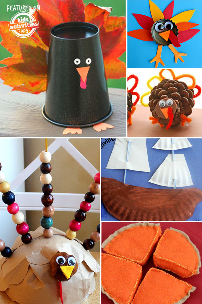 preschool thanksgiving crafts that include a black paper cup turkey with orange leave tail, a bottle cap turkey made of red, orange, yellow construction paper and googly eyes. A fat paper turkey with googly eyes with beaded tail feathers, a pilgrim paper plate boat, and pumpkin pie playdough.