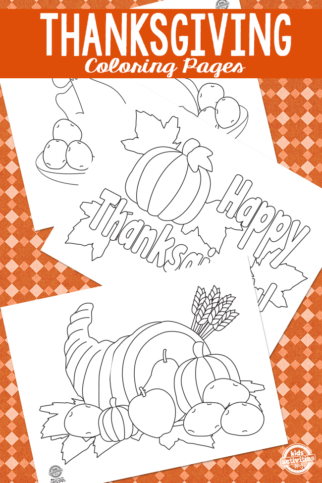 Thanksgiving coloring sheets of pumpkins and a cornucopia on an orange background.