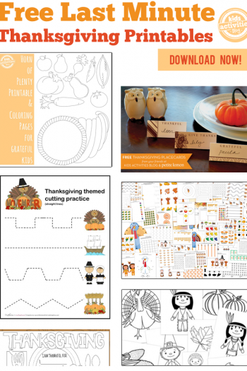 60+ Last Minute Thanksgiving Printables featured on Kids Activities Blog