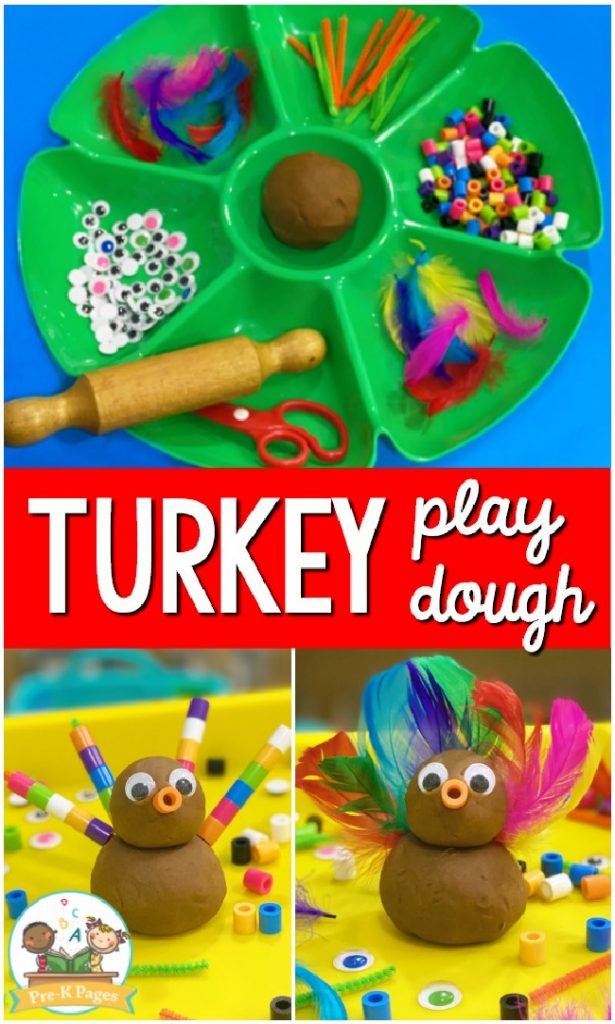 Turkey play dough collage with a green container of brown play dough and decorations, a turkey made out of brown play dough with feathers.