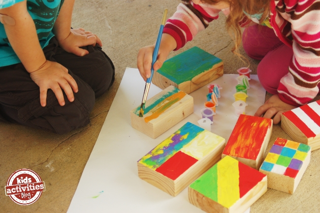 Create colorful wood blocks with your kids