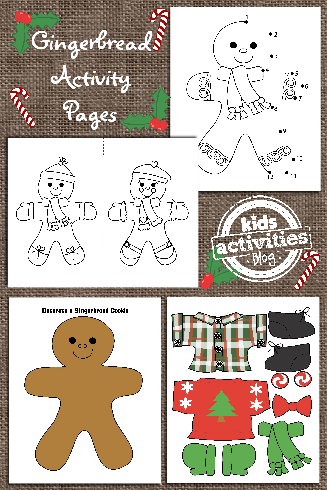 Gingerbread printables for kids with a: connect the dot, coloring sheets, and dress the gingerbread man sheet.
