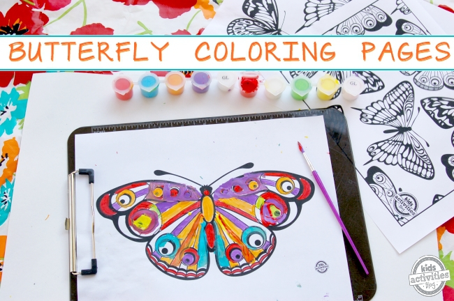 butterfly coloring pages painting with paints and paint brush on brightly colored table with text - butterfly coloring pages