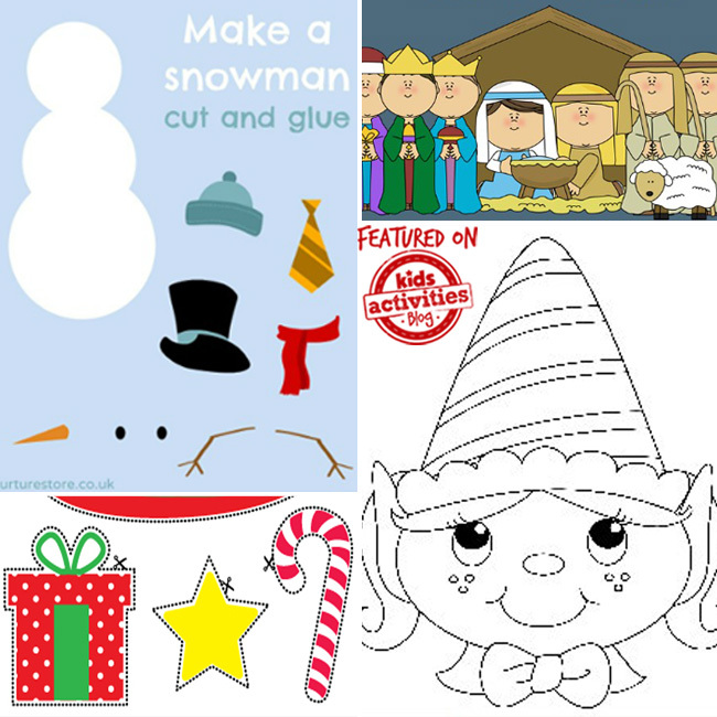 free christmas printables - free Chrismtas coloring pages like Elf on the Shelf, Make a snowman and cut and paste present with candy cane
