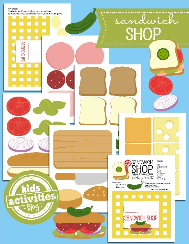 Printable Toy - Paper Sandwich Shop - Kids Activities Blog