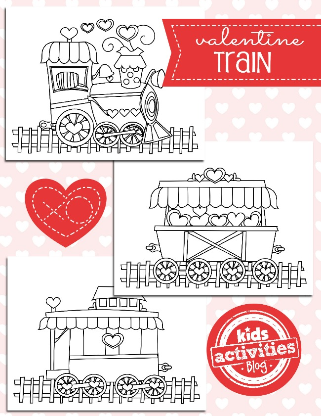 Free Valentine Coloring Pages - Valentine Train Coloring Pages - Kids Activities Blog