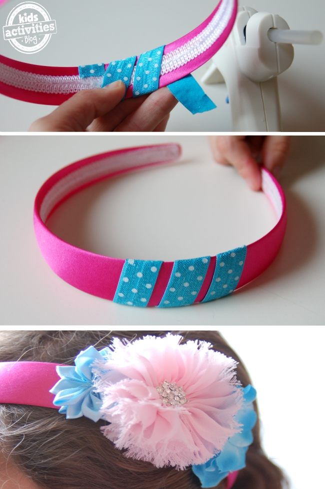 DIY Headband Tutorial for kids - steps for making easy change out headband system - glue three strips of ribbon, clip accessories to the ribbon