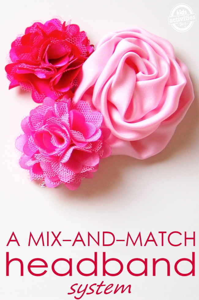 DIY Headband Tutorial for kids - mix and match headband system kids can make for their ribbon flowers - three ribbon flowers shown
