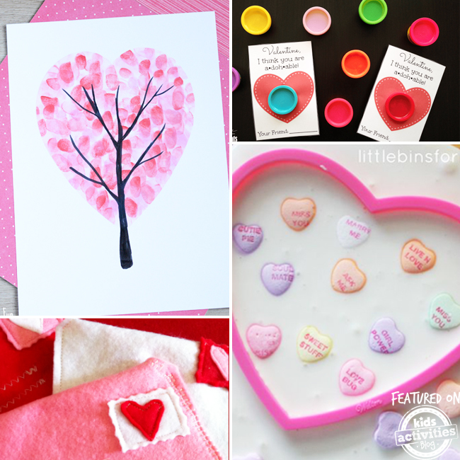 Easy Valentine crafts for kids like making felt envelopes for cards, making a heart tree with finger tips, playdough valentines, and ooblek with candy.