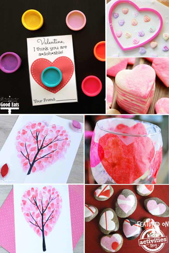 Valentines crafts for kids like creative a candle votive, painting rocks, finger painting a heart tree, making ooblek and heart sugar cookies.