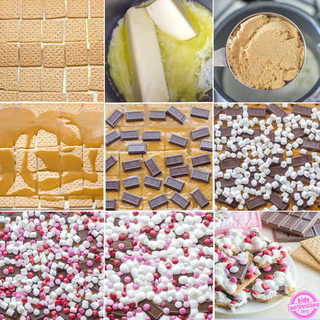 S'mores bark recipe broken down by the graham cracker base, melted butter, add brown sugar, add the toffee mixture on the graham crackers, add chocolate bars, marshmallows, and M&M's, and bake, then break up the bars.