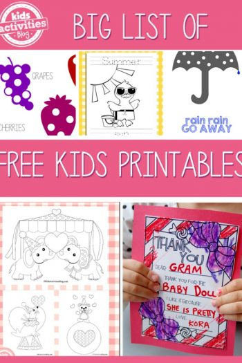 Free Kids Printables list - Kids Activities Blog
