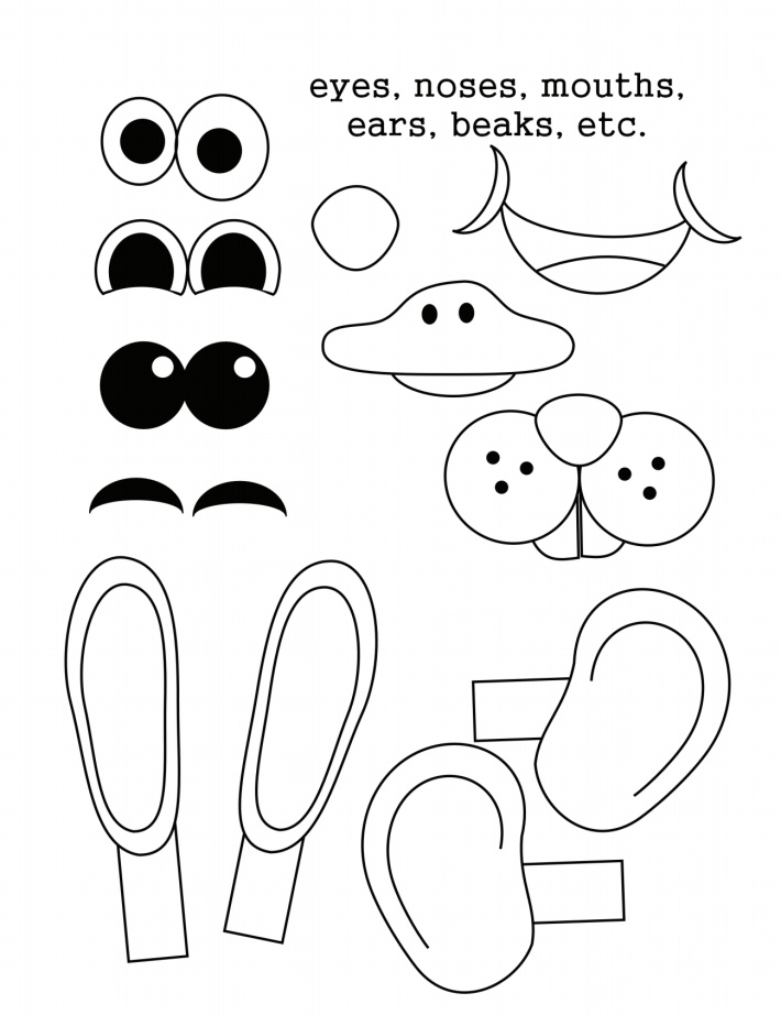 Color these Easter egg accessory pieces - eyes noses mouths ears beaks
