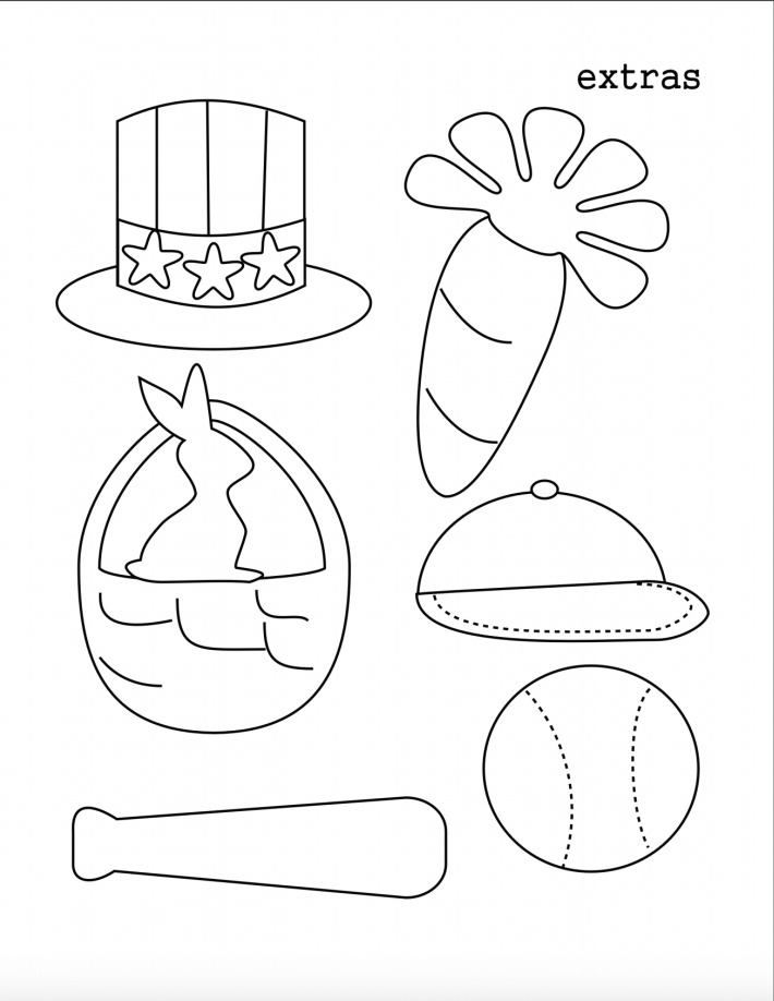 Coloring page of egg hats and other accessories - Kids Activities blog
